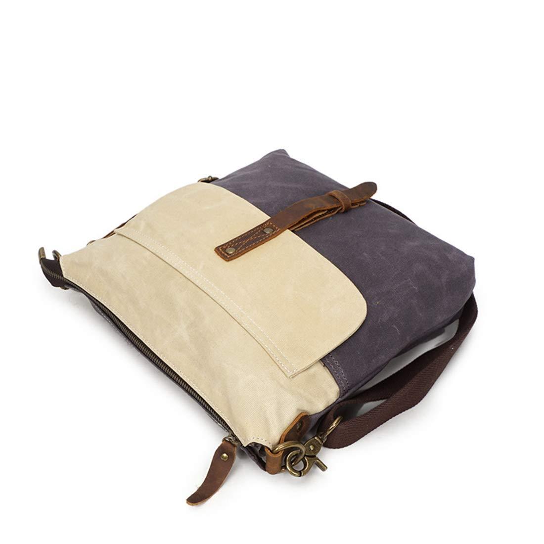KRPENRIO Simple Retro Zipper Waterproof Canvas Shoulder Bag Messenger Bag Color:Gray Color : White//Grey