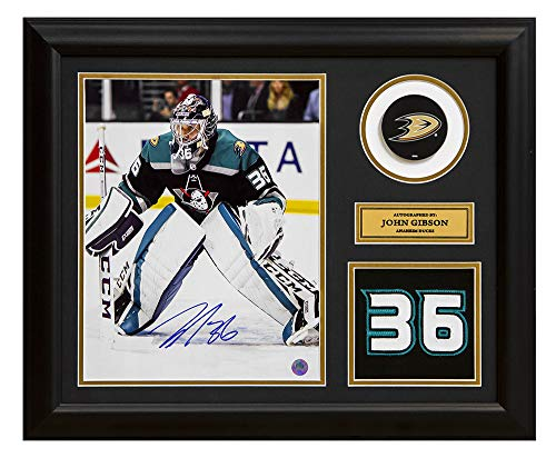 Signed Anaheim Ducks - AJ Sports World John Gibson Anaheim Ducks Signed Franchise Jersey Number 23x19 Frame