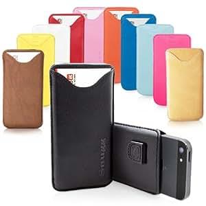 iPhone 5 / 5S / SE Case, SnuggTM - Black Leather Pouch Cover with Card Slot & Soft Premium Nubuck Fibre Interior - Protective Apple iPhone 5 / 5S / SE Sleeve Case - Includes Lifetime Guarantee