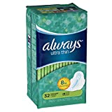 Always Ultra Thin Long/Super With Wings, Unscented Pads 32 Count