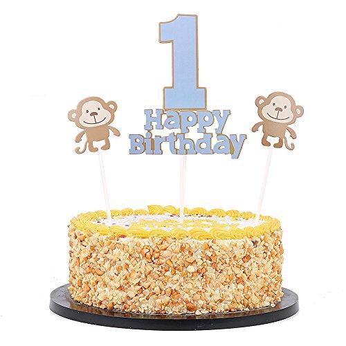 "QIYNAO Monkey Happy birthday and ""1"" cake topper-1st Birthday Cake for Baby boy Party (Monkey Cake)"
