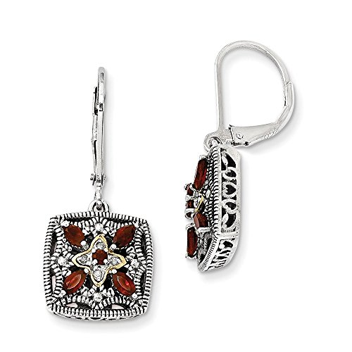 Sterling Silver w/14k Diamond & Garnet Earrings by CoutureJewelers