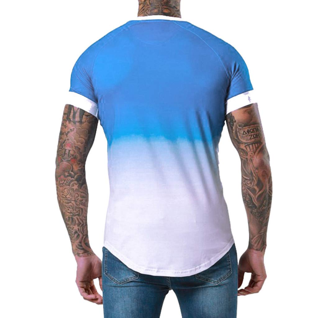 iYBUIA Summer Mens Patchwork Graduated Short Sleeved T-Shirt Top Blouse