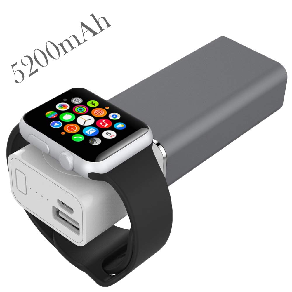 [MFI] UnitedUshop Wireless Magnetic Portable Charger for Apple Watch Series 4/3/2/1, Power Bank Charger with USB Charging for iPhone X, iPhone 8, Android,Smartphone - 5200 mAh