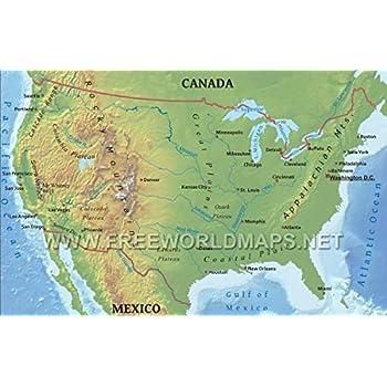 Amazon.com: Home Comforts Laminated Map - United States Physical Map ...