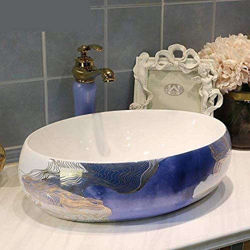 Yadianna 中国の楕円形のセラミックシンク中国の洗面台セラミックカウンタートップ洗面浴室セラミック洗面台のバスルームのシンク-L58cm_only_sink