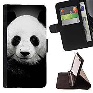 Super Marley Shop - Funda de piel cubierta de la carpeta Foilo con cierre magn¨¦tico FOR Apple iPhone 5 5S- Panda Cute Face