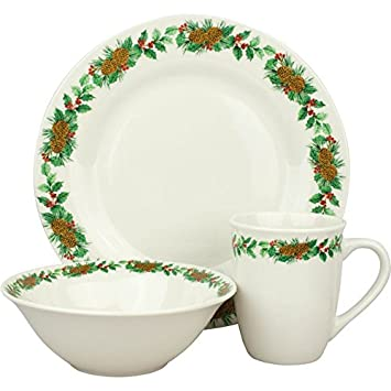 Christmas Decorated 12-Piece Holiday Dinnerware Set Service for 4  sc 1 st  Amazon.com & Amazon.com | Christmas Decorated 12-Piece Holiday Dinnerware Set ...