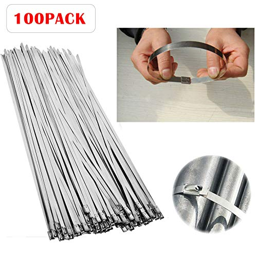 """Price comparison product image (GIGA-MARKET) 100 Pcs 304 Stainless Steel 12"""" Exhaust Wrap Coated Metal Locking Cable Zip Ties"""