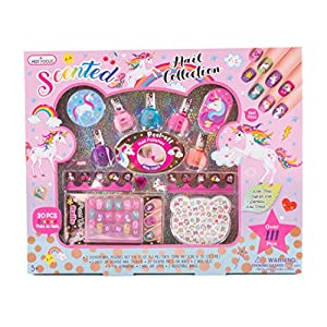 Hot Focus Unicorn Nail Art Gift Set – 112 Piece Scented Girls Nail Kit Includes Press On Nails, Nail Polishes, Toe Separators and More – Non-Toxic Water Based Peel Off Nail Polish
