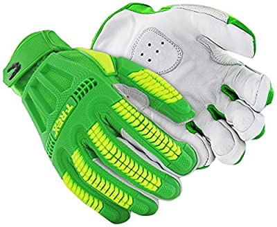 Hi-Viz Cut Resistant Leather Impact Work Gloves