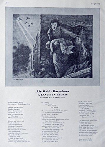 Art Lithograph Rare (William Sharp, Lithograph, B&W Illustration, Print art (air raid: Barcelona) Very Rare Authentic oringial vintage 1938 Esquire Magazine Art)