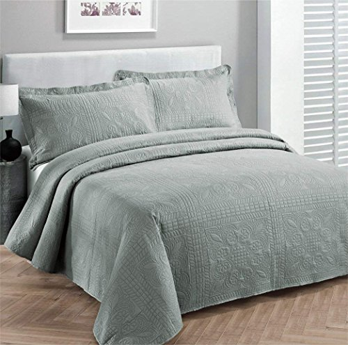 Elegant Home Beautiful Over Sized Solid Color Embossed Floral Striped 3 Piece Coverlet Bedspread (Queen/Full, Light Grey)
