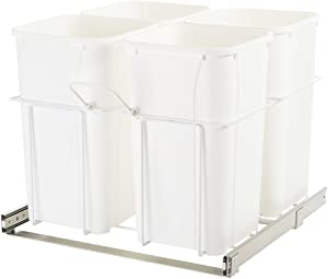 """Knape & Vogt SBM24-4-27WH in-Cabinet Bottom Mount Pull Out Trash Can, 18.63"""" by 23"""" by 22"""""""