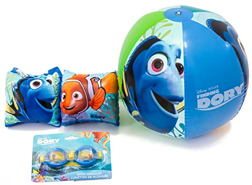 Finding Dory Pool Toys Bundle - 3 Items: Goggles, Arm Floats, and Beach Ball