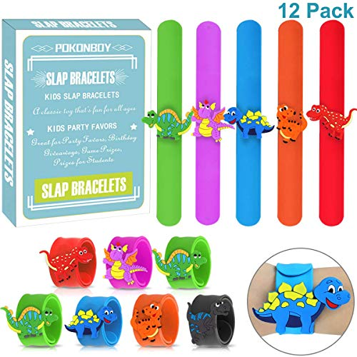 - POKONBOY Dinosaur Slap Bracelets for Boys Party Favors, 12 Pack Wristband Slap Band Jurassic World Toys Dinosaur Birthday Party Supplies Carnival Prizes for Boys Girls Kids