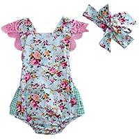 Ma&Baby Newborn Baby Girl Floral Bodysuit+Headnband 2pcs Summer Flare Sleeve Fashion Jumpsuit 0-24Months