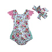 Newborn Baby Girl Floral Bodysuit+Headnband 2pcs Summer Flare Sleeve Fashion Jumpsuit 0-24Months (12-18 Months, Blue)