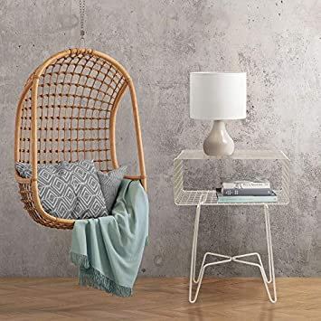 mDesign Modern Farmhouse Side End Table – Metal Grid Design – Open Storage Shelf Basket, Hairpin Legs – Sturdy Vintage, Rustic, Industrial Home Decor Accent Furniture for Living Room, Bedroom – Satin