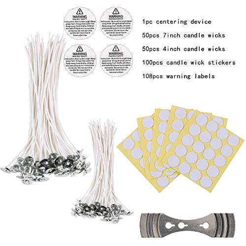 Benbo Candle Making DIY Kit, Low Smoke 100 Pieces Natural Candle Wicks, 100 Pieces Stickers, 108 Pieces Warning Labels and 1 Piece Candle Wick Centering Device for Candle Making and Candle DIY