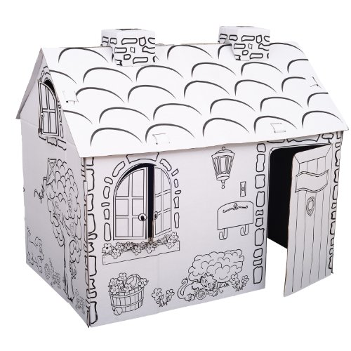 Kids Folding Cardboard Paper House Coloring Playhouse Kit - Town Cottage by Qaba