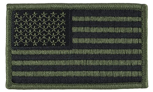"Tactical US American Flag Patch  Subdued Olive Drab 2"" x 3 3"