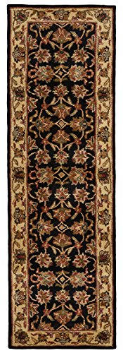 Feizy Rugs Yale Collection Round Imported Area Rug, 8' x 8', Black/Gold