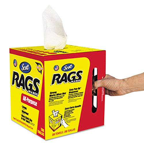 Scott Rags In A Box (75260), White, 200 Shop Towels per box, Case of 8