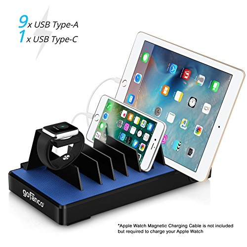 gofanco USB C Charging Station 10 port 90W with Apple Watch Stand, Type C Desktop Charging Stand Organizer Rack for phones, tablets and wearable devices, 9 USB Type A & 1 USB Type C - (Desktop Type)