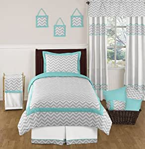 Sweet Jojo Designs 4-Piece Turquoise and Gray Zig Zag Childrens and Kids Bedding Set Girl or Boy Twin Set