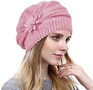 Original One Women Solid Knit Furry French Beret Fall Winter Fleece Lined Paris Artist Beanie Hat