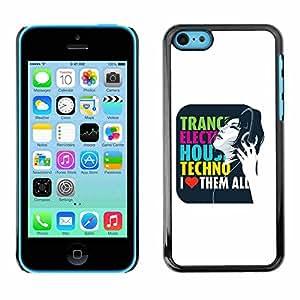 Shell-Star ( Trance Electro House Techno Love ) Fundas Cover Cubre Hard Case Cover para Apple iPhone 5C