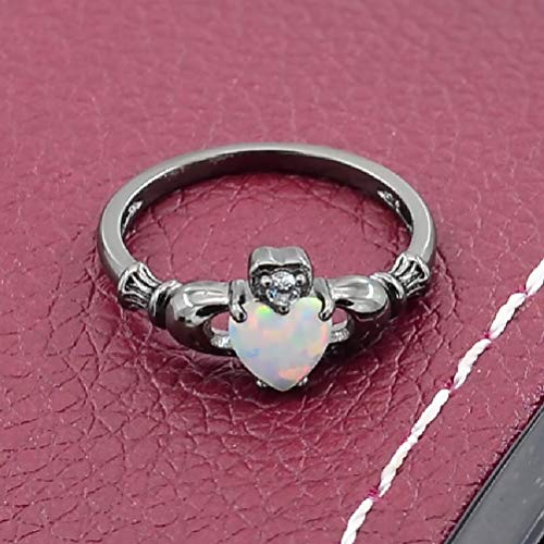 GerTong 1 PCS Luxury Women's Ring Elegant Heart Shape Opal Black Zircon Diamond Rings Anniversary Engagement Ring Jewelry Gifts for Women Lady Girls Size 7# by GerTong (Image #6)
