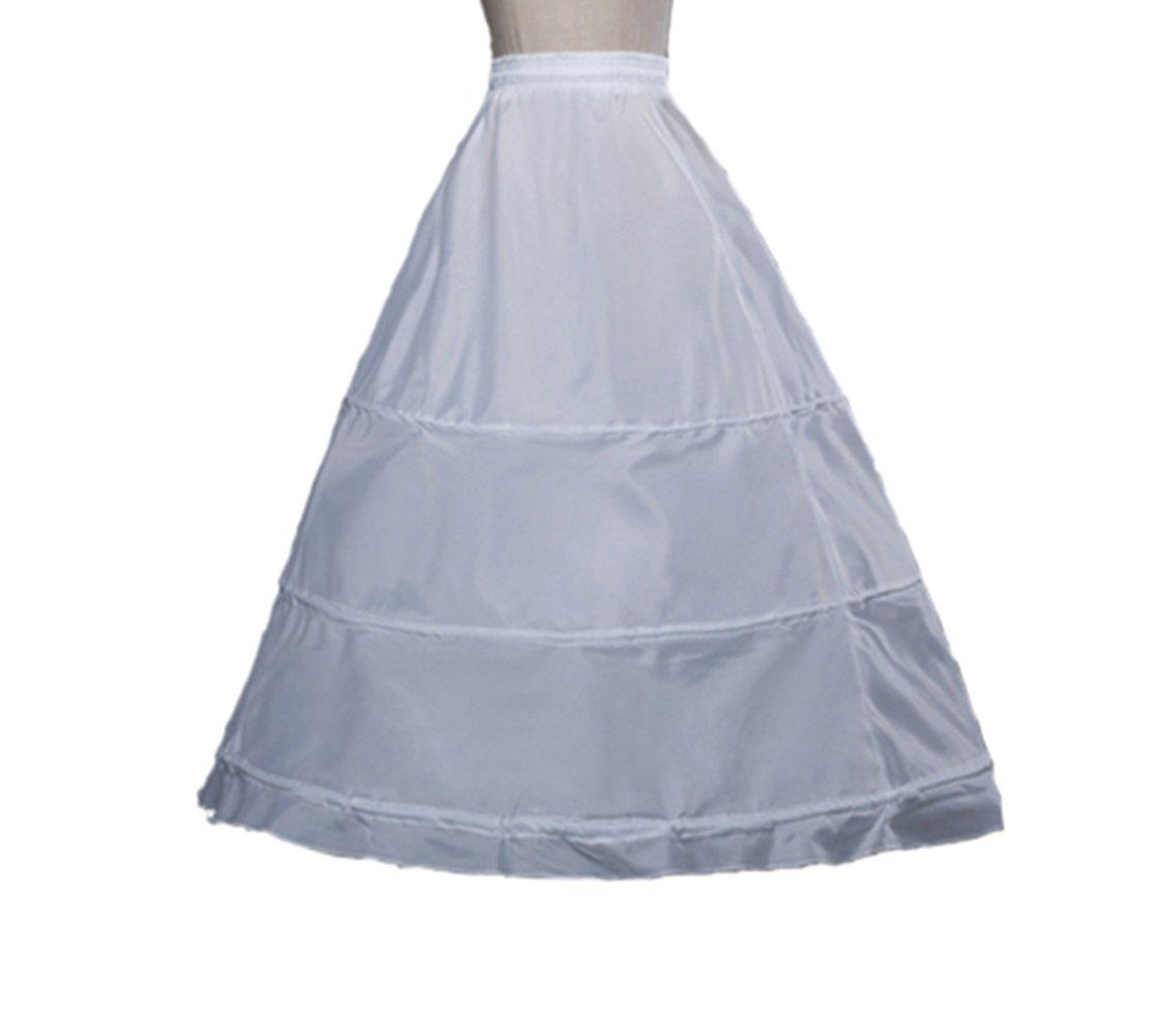 Women's Full 3 Hoops Petticoats/Underskirt Wedding Slips Free Size (One Size, White) CC4326A-F