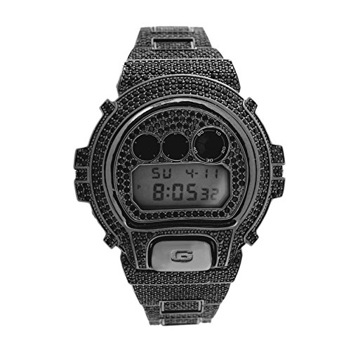 Custom Designer Iced out Black Lab Diamond Casio Gshock DW6900 Black Gold Icy Bling Watch 14kt Gold Ladys Wrist Watch