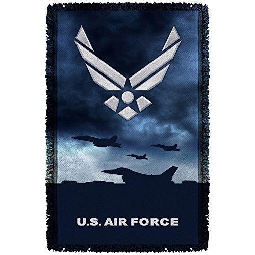Trevco AF118 AIR FORCE/TAKE OFF-WOVEN THROW-WHITE-48x80