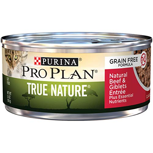 (Purina Pro Plan Natural, Grain Free Pate Wet Cat Food; TRUE NATURE Natural Beef & Giblets Entree - 5.5 oz. Can)
