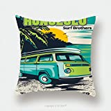 Custom Satin Pillowcase Protector Retro Hawaii Surf Poster 540987814 Pillow Case Covers Decorative