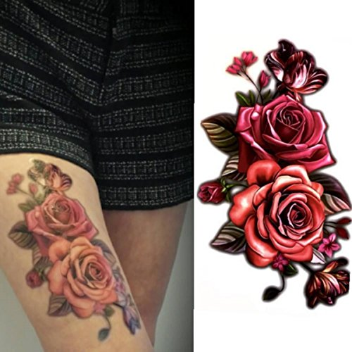 Price comparison product image 16 individual Flower Temporary Tattoos - Twin Rose (Set of 4 Sheets) Mixed Color Red/Pink Roses and Black and White. Waterproof Sticker Fake Tattoo