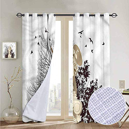NUOMANAN Blackout Curtains Vintage,Greek Athena Statue Tree,Thermal Insulated Panels Home Décor Window Draperies for Bedroom a52 x72 ()