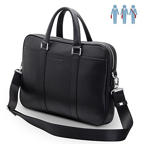 13-13.3 inch Laptop Bag, QIALINO Real Leather Briefcase Slim Sleeve Case for...