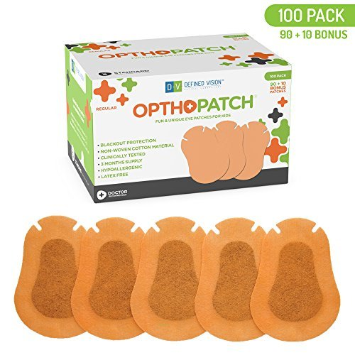 Optho-Patch Kids Eye Patches - Beige 90 + 10 Bonus Latex Free Hypoallergenic Cotton Adhesive Bandages For Amblyopia and Cross Eye by Defined Vision