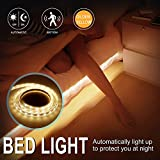 New Year Deal Motion Activated Under Bed Light Strip, CCJK Pir Sensor Flexible 30 LED Night Light 4 AAA Battery Power Supply with Automatic Shut Off Sensor Warm Soft White