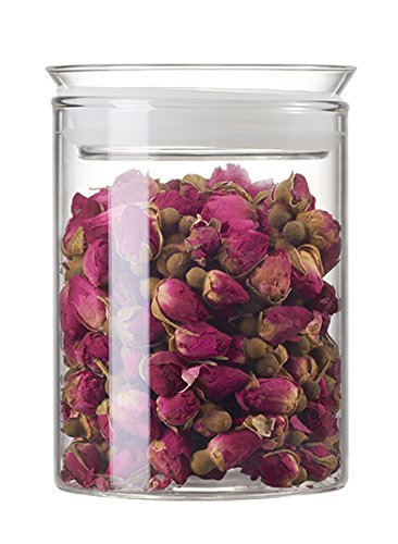 ZENS Glass Storage Jar with Glass Lid & Silicon Ring, Food Storage Container, Canisters 15.5oz/450ml for Sugar, Tea, Coffee, Cookies, (White Transparent Refrigerator)