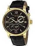 Calvaneo 1583 Herren-Armbanduhr Valencia II Gold Analog Automatik Leder schwarz 107934