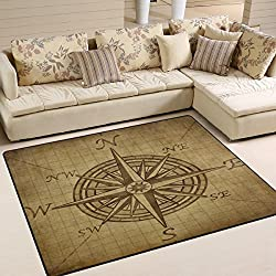 Naanle Vintage Compass Rose Area Rug 5'x7', Compass Navigation Modern Polyester Area Rug Mat for Living Dining Dorm Room Bedroom Home Decorative
