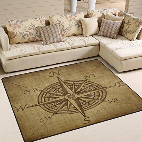Naanle Vintage Compass Rose Area Rug 5'x7', Compass Navigation Modern Polyester Area Rug Mat for Living Dining Dorm Room Bedroom Home Decorative ()