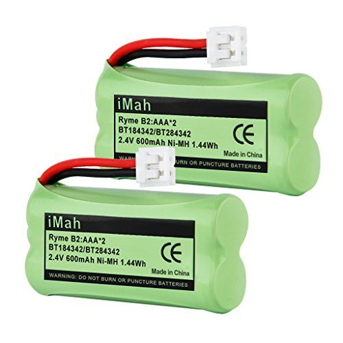 iMah Ryme B2 Rechargeable Cordless Phone Battery for BT184342 BT284342 BT18433 BT28433 BT-1011 BT-1018 BT-1022 BT-1031 Vtech CS6209 CS6219 CS6229 CS6229-2 DS6301 DS6151 DS6101 (Pack of 2)