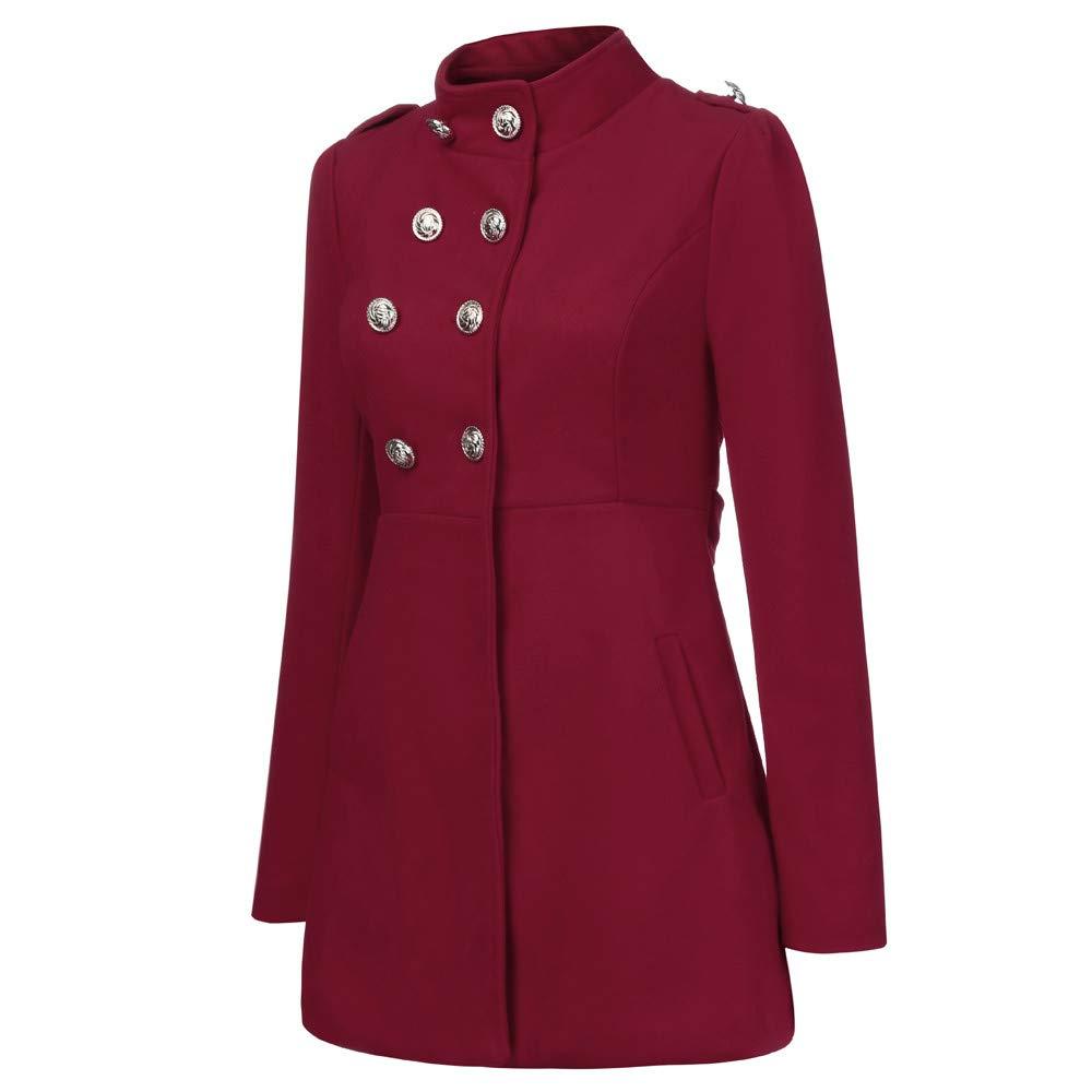 Amazon.com: AOJIAN Women Jacket Long Sleeve Outwear Vintage Double Breasted Solid Slim Office Coat Wine: Clothing