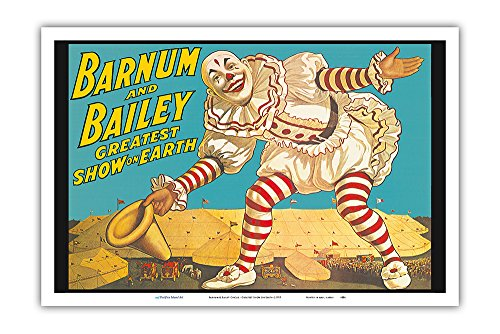 Pacifica Island Art Barnum & Bailey Circus - Greatest Show on Earth - Clown Standing over Tents - Vintage Circus Poster c.1917 - Master Art Print - 12in x 18in